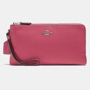 Coach Colorblock Double Zip Wallet Wristlet Rouge